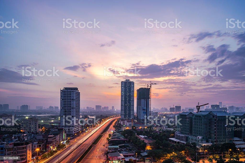 Amazing sunset on highway - Hanoi Cityscape stock photo