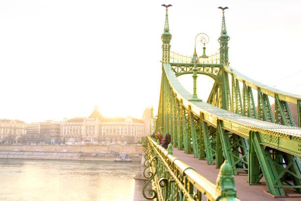 Amazing sunset on the bridge of freedom in Budapest Amazing sunset on the bridge of freedom in Budapest liberty bridge budapest stock pictures, royalty-free photos & images