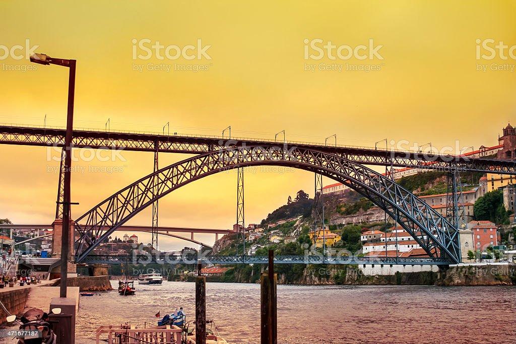 Amazing sunset over Dom Luis Bridge in Porto royalty-free stock photo