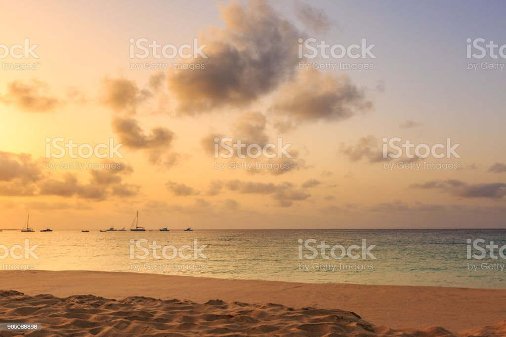 Amazing sunset over ocean royalty-free stock photo