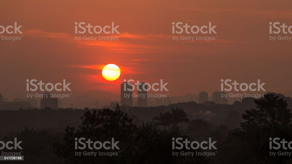 Amazing sunset over Sao Paulo, Brazil - South America stock photo