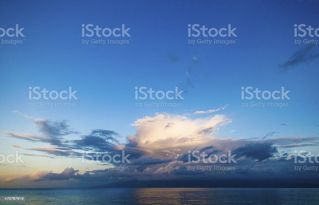 Amazing sunset reflected over island Molokai, Maui, Hawaii stock photo