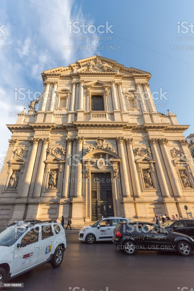 Amazing Sunset view of Chiesa Sant Andrea della Valle in Rome, Italy stock photo