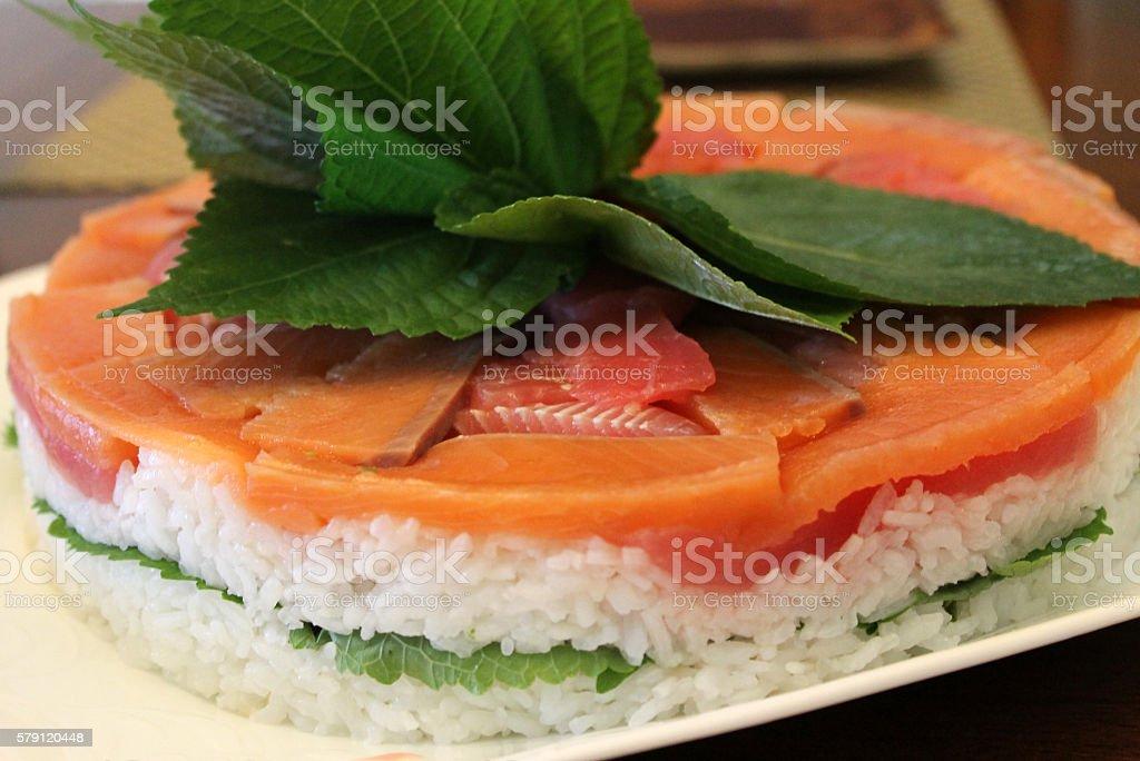 Amazing Sushi Cake stock photo