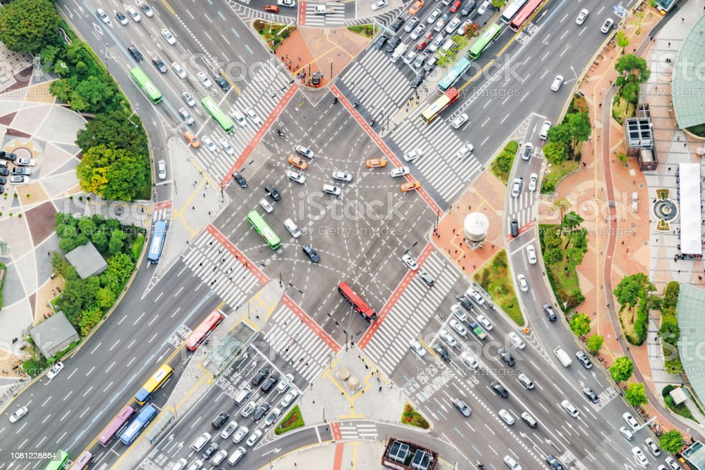 Amazing top view of road intersection at downtown of Seoul in South...