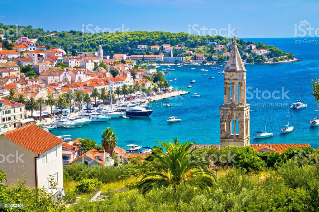Amazing town of Hvar harbor aerial view, Dalmatia, croatia stock photo