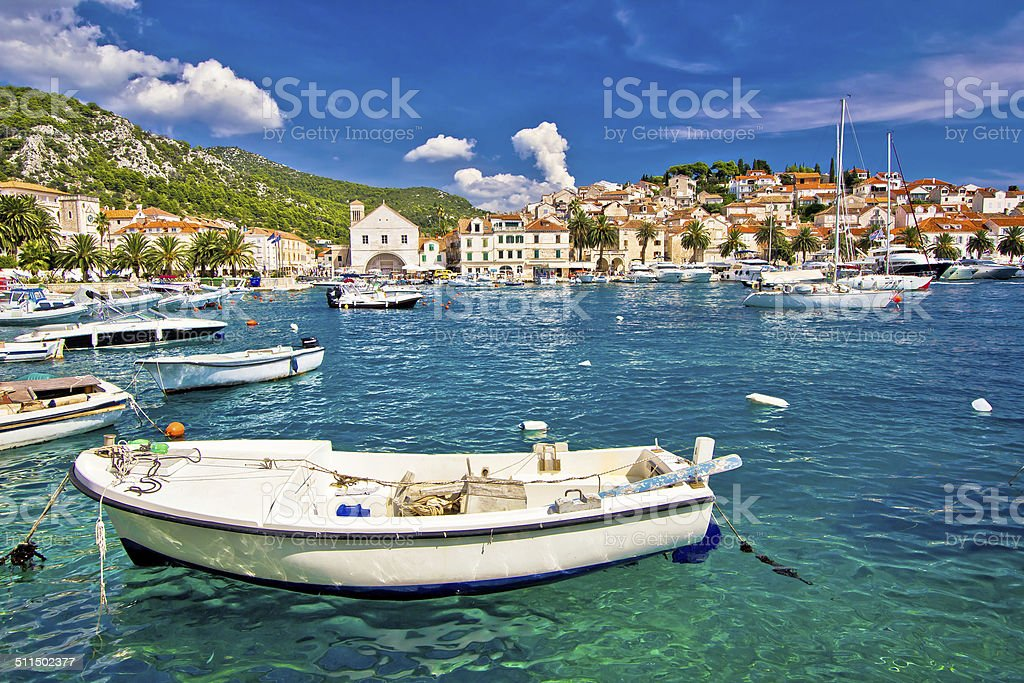 Amazing town of Hvar waterfront stock photo