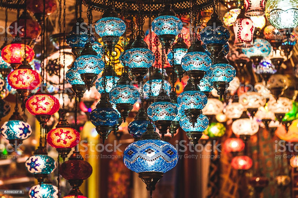 Amazing traditional handmade turkish lamps in souvenir shop stock photo
