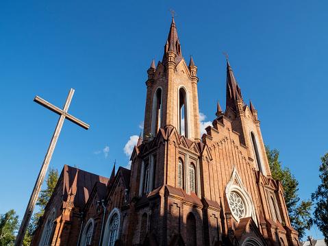 Amazing Transfiguration church known as Organ hall in Krasnoyarsk, Russia. Architecture style is Roman Catholic church