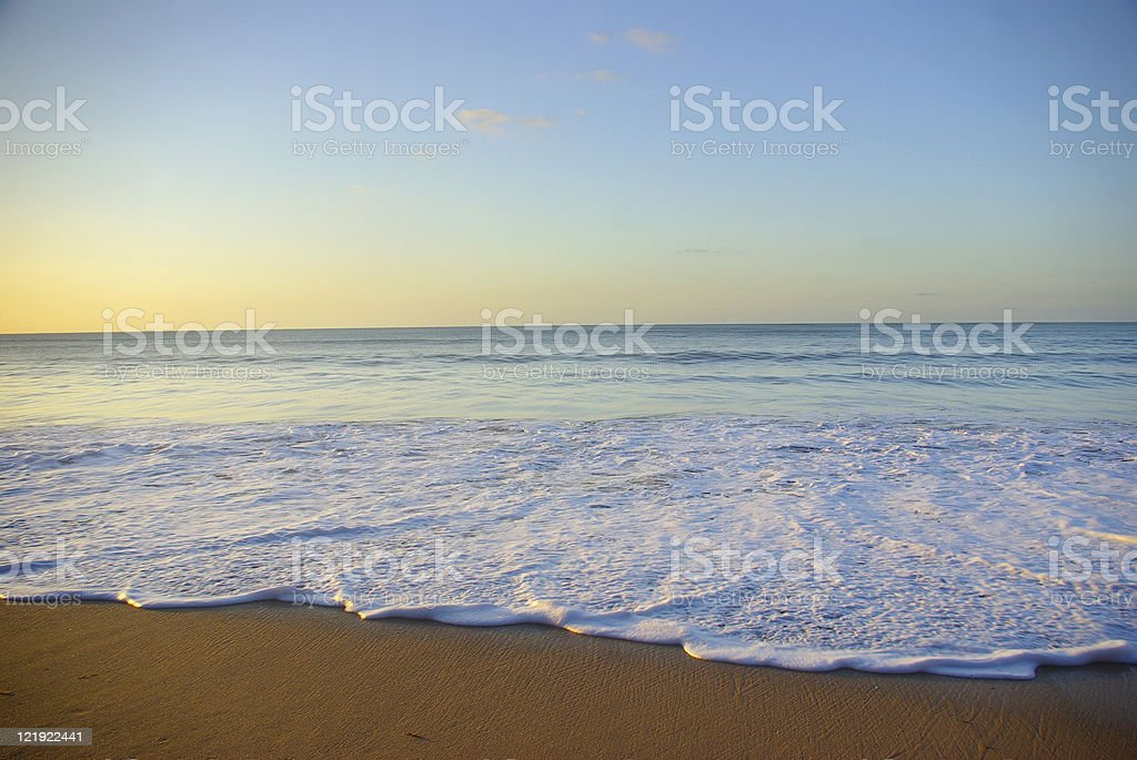 amazing tropical caribbean sunset seascape with foam and horizon royalty-free stock photo