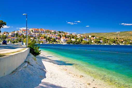 Amazing turquoise beach of Rogoznica town