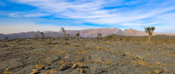 Amazing view at on of the most popular Jebel Shams Mountain in Oman stock photo