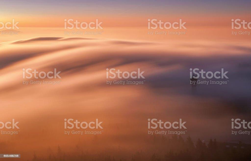 Amazing view from Jested mountain peak. Liberec, Czech republic. stock photo