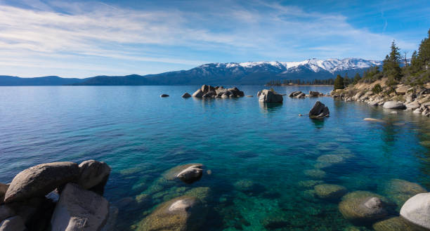 Amazing view from the shores of Lake Tahoe Lake Tahoe views nevada stock pictures, royalty-free photos & images