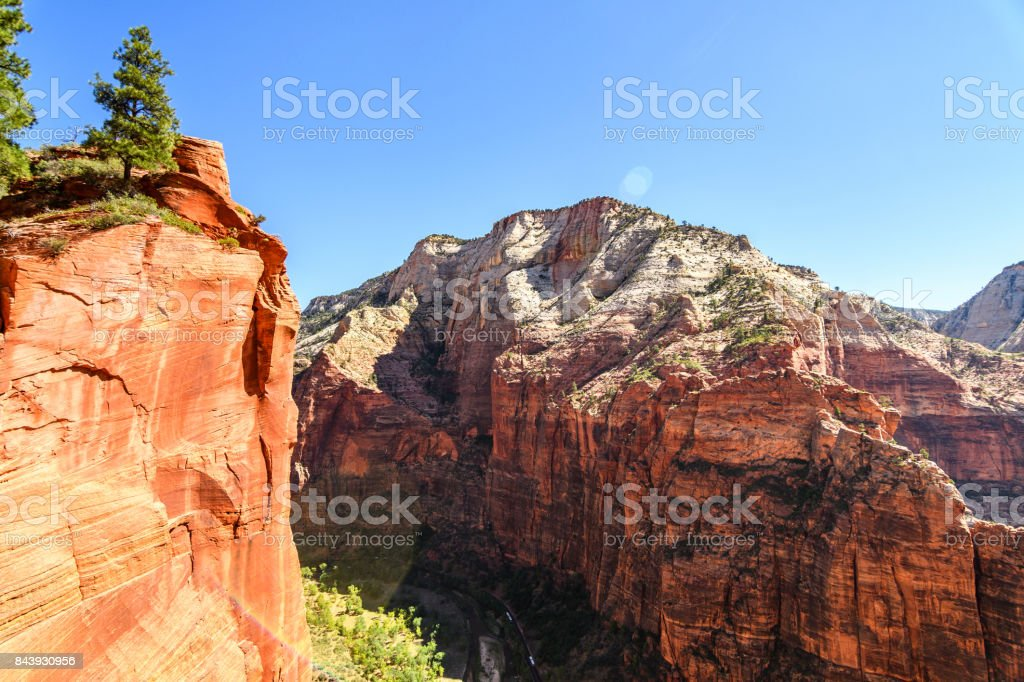 amazing view of angels landing hike in zion national park utah stock
