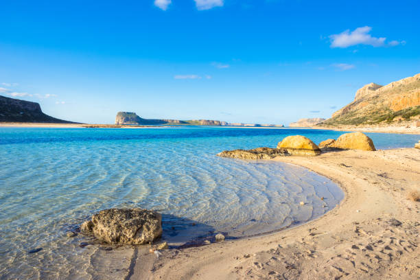 Amazing view of Balos Lagoon with magical turquoise waters, lagoons, tropical beaches of pure white sand and Gramvousa island on Crete, Greece stock photo