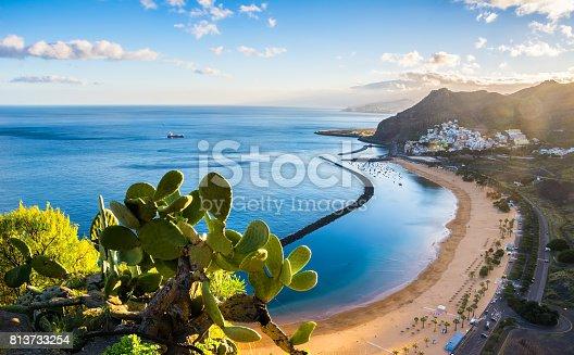 istock Amazing view of beach las Teresitas with yellow sand. Location: Santa Cruz de Tenerife, Tenerife, Canary Islands. Artistic picture. Beauty world. 813733254