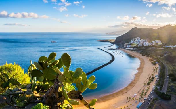 fantastisk utsikt över stranden las teresitas med gul sand. plats: santa cruz på teneriffa, teneriffa, kanarieöarna. konstnärlig bild. skönhet i världen. - spain solar bildbanksfoton och bilder