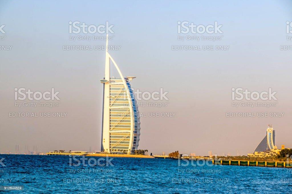 Amazing view of Burj Al Arab, Seven Star Hotel, A view from Jumeirah Beach, Arabian Sea, Residential and Business Skyscrapers, Dubai, UAE stock photo