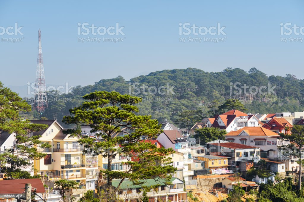 Amazing view of Dalat (Da Lat) in Vietnam. Scenic cityscape stock photo