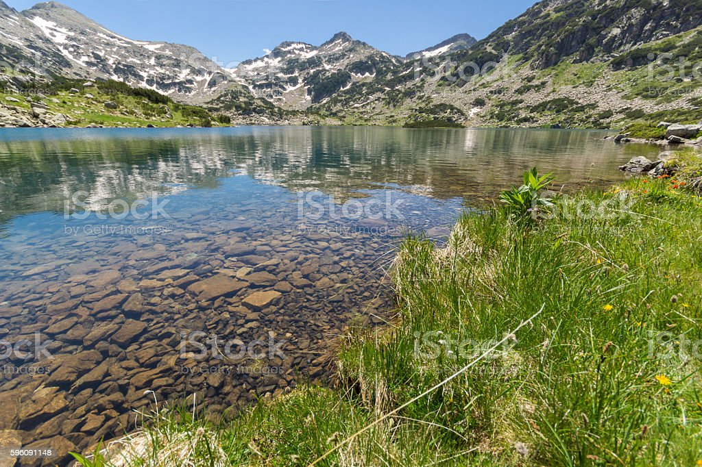 Amazing view of Demirkapiyski chuki and Dzhano peaks, Popovo lake Lizenzfreies stock-foto