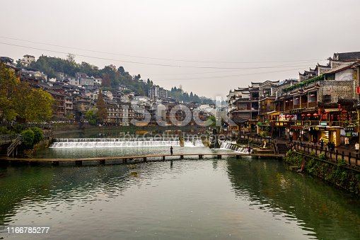 Beautiful view of Fenghuang Ancient town and Tuo Jiang river