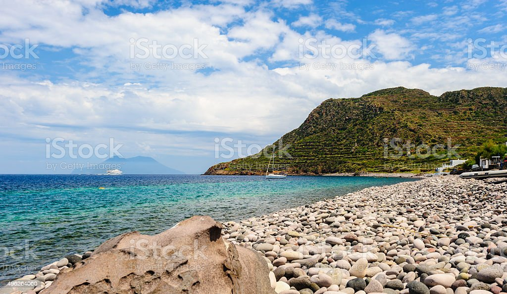 Amazing view of Filicudi island seashore. stock photo
