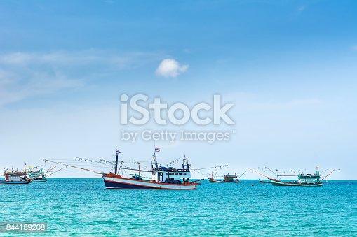 Amazing view of fishing ships in Andaman sea. Location: Krabi, Krabi province, Thailand, Andaman Sea. Artistic picture. Beauty world.
