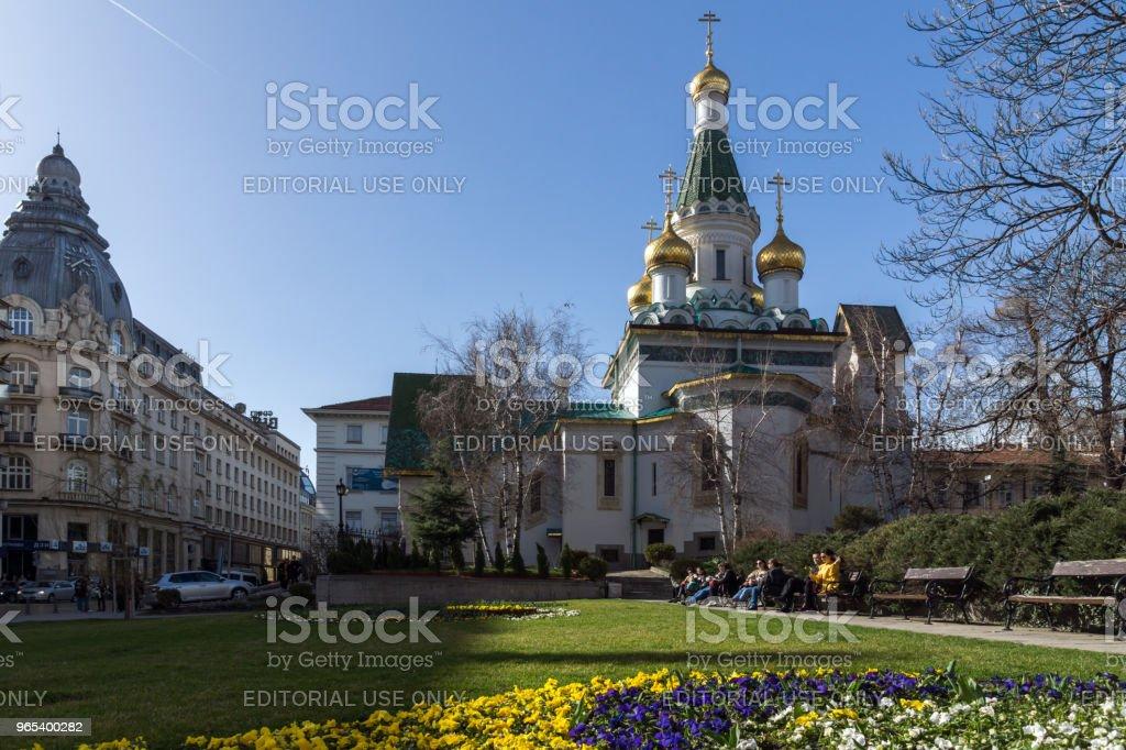 Amazing view of Golden Domes Russian church in Sofia, Bulgaria zbiór zdjęć royalty-free