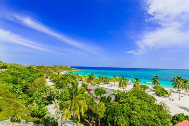 amazing view of holguing province tropical inviting beach and tranquil azure turquoise ocean on blue sky background - cuba stock photos and pictures