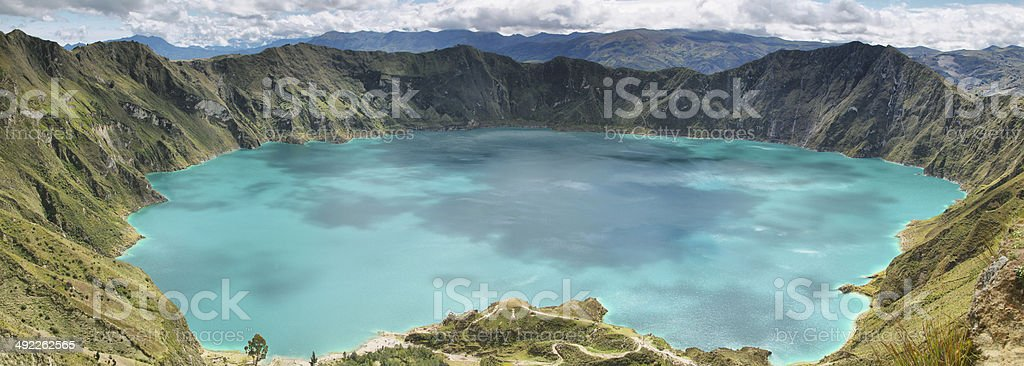 Amazing view of  lake of the Quilotoa caldera stock photo