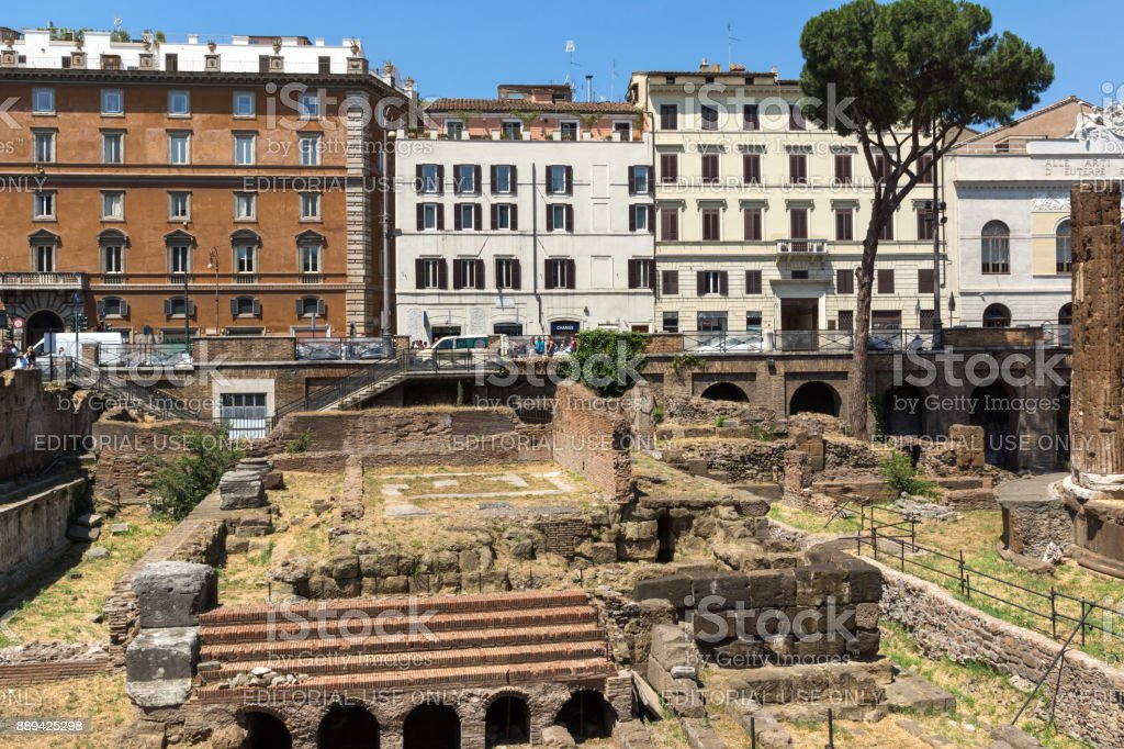 Amazing view of Largo di Torre Argentina in city of Rome, Italy stock photo