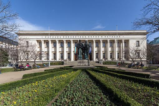 국립 도서관 성 시 릴과 Methodius 소피아 불가리아에서의 놀라운 보기 건물 외관에 대한 스톡 사진 및 기타 이미지