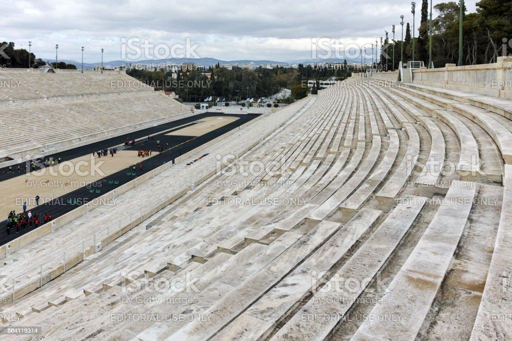 Amazing view of Panathenaic stadium or Kallimarmaro in Athens,  Attica, Greece royalty-free stock photo