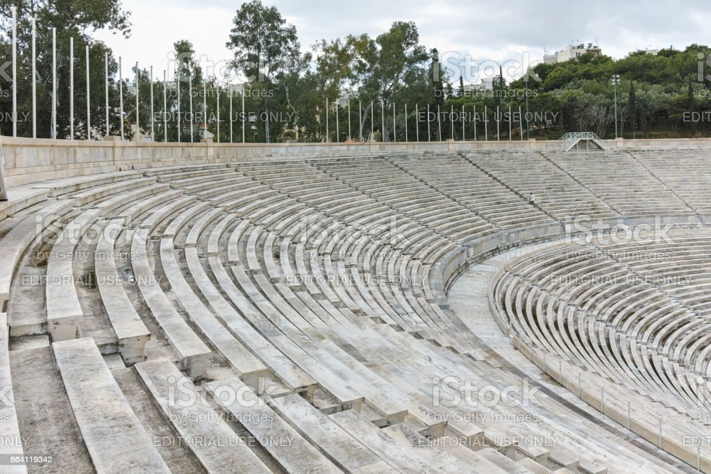 Amazing view of Panathenaic stadium or Kallimarmaro in Athens,  Attica, Greece royalty-free stock photo