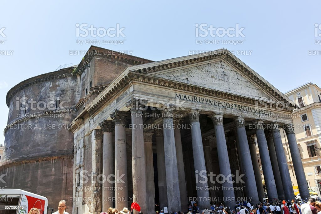 Amazing view of Pantheon in city of Rome, Italy stock photo