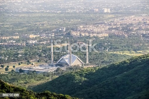 Amazing view of Shah Faisal Mosque from margalla hills
