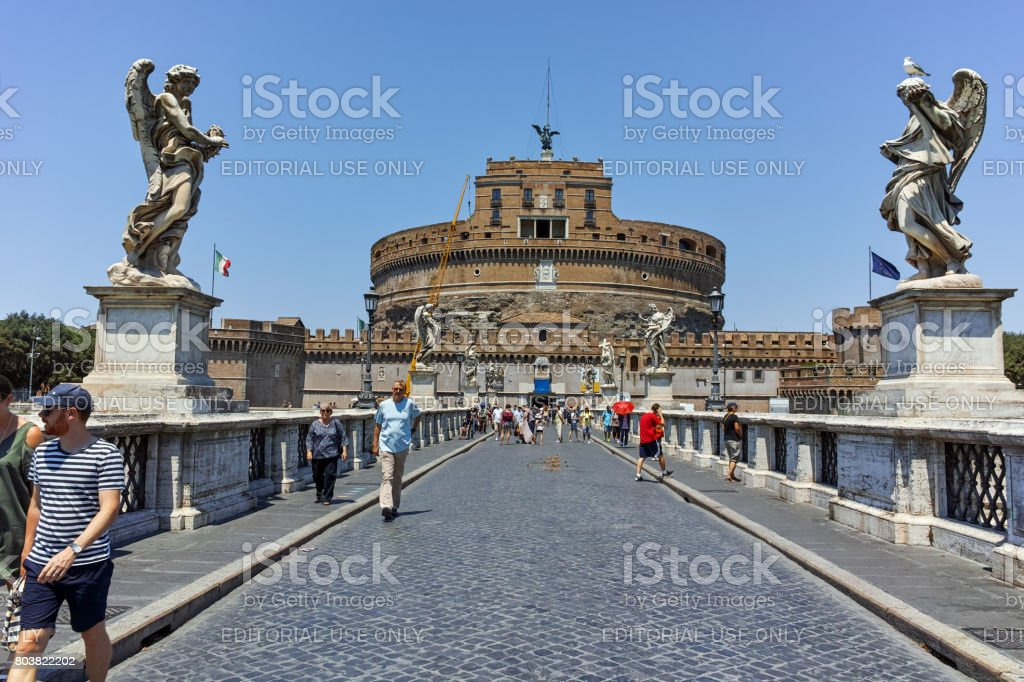Amazing view of St. Angelo Bridge,  Tiber River and castle st. Angelo in city of Rome, Italy stock photo
