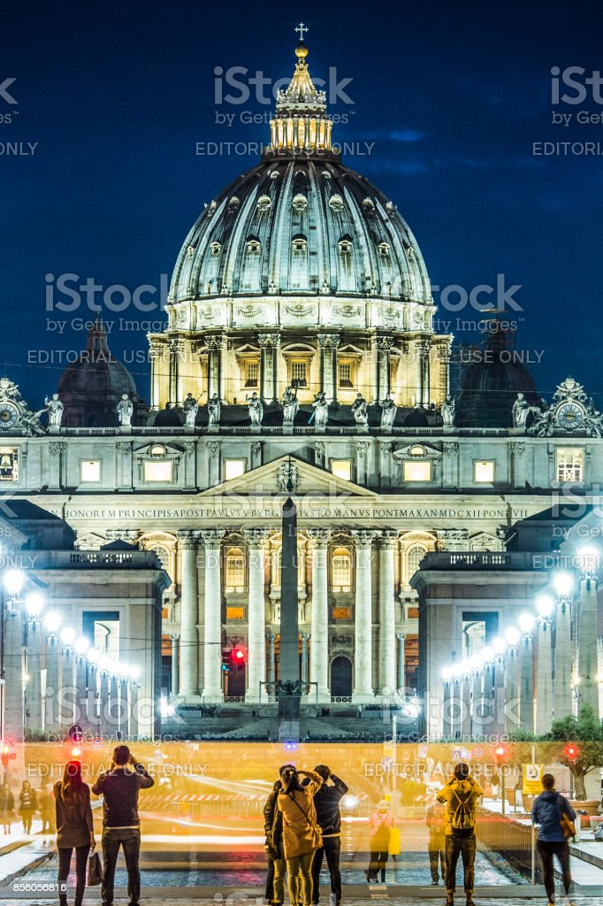 Amazing view of St. Peter Basilica in Rome stock photo