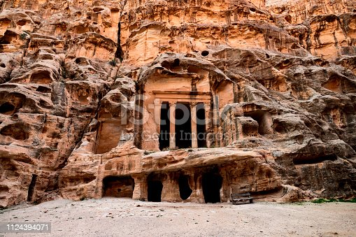 Amazing view of the beautiful little Petra site. Petra is a Unesco World heritage site, historical and archaeological city in southern Jordan.