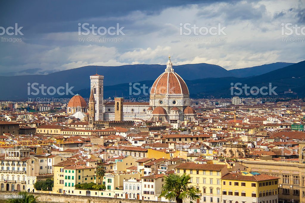 Amazing view of the Duomo from Piazzale Michelangelo, Florence stock photo