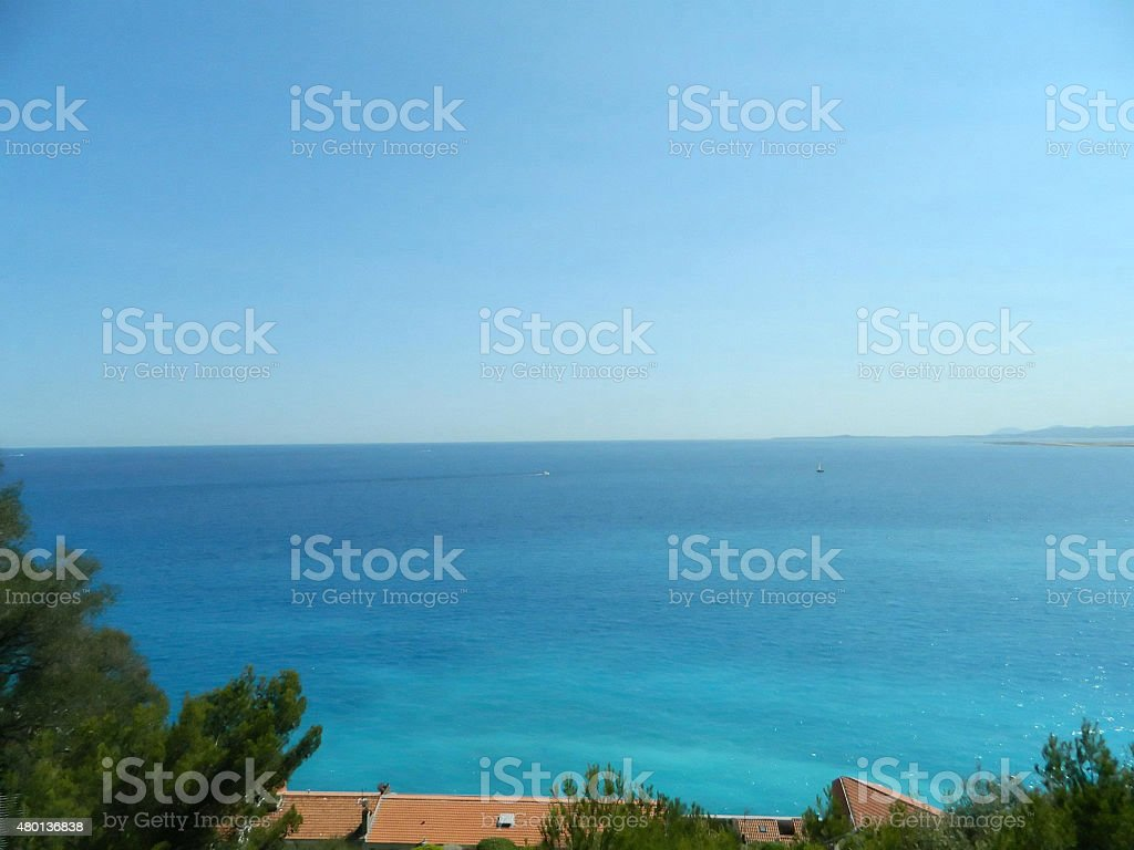 Amazing view of the Mediteranean sea , Nice, France. stock photo