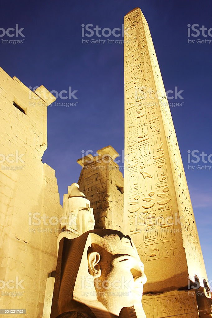 Amazing view of the pillar standing in Luxor's temple entrance stock photo