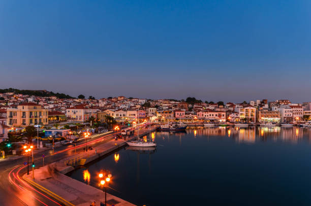 Amazing view of the port and the city of Mytilene at sunset. stock photo
