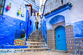 istock Amazing view of the street in the blue city of Chefchaouen. Location: Chefchaouen, Morocco, Africa. Artistic picture. Beauty world 1254463631