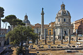 istock Amazing view of Trajan Column and Forum in city of Rome, Italy 864138156