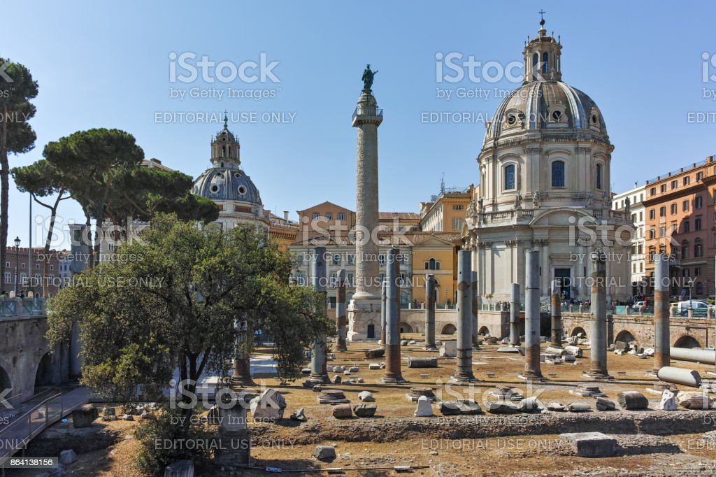 Amazing view of Trajan Column and Forum in city of Rome, Italy stock photo