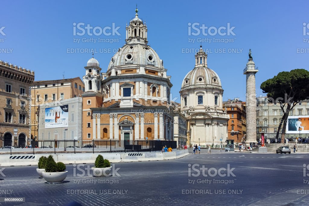 Amazing view of Trajan Column in city of Rome, Italy stock photo