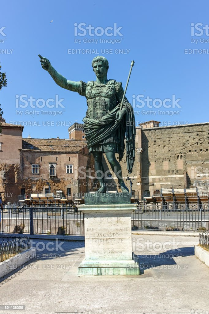 Amazing view of Trajan Forum and statue in city of Rome, Italy royalty-free stock photo