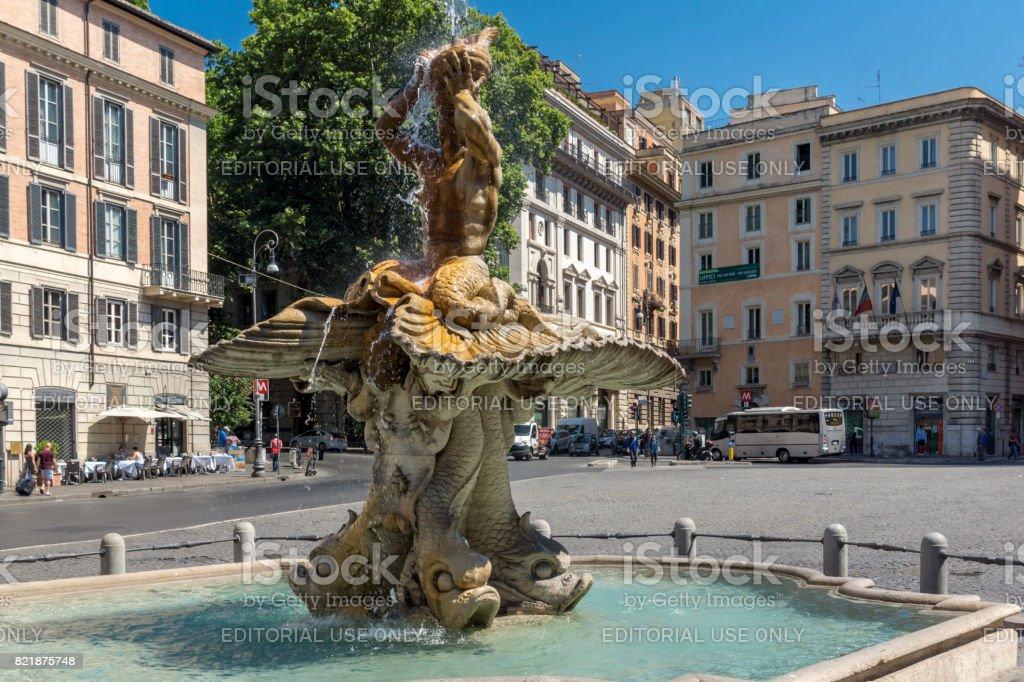 Amazing view of Triton Fountain at Piazza Barberini in Rome, Italy stock photo